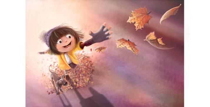 Sophie-Mitchell-cartoon-publishing-Girl-Dog-Autumn